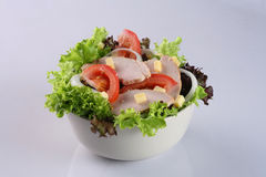 Salad. With tomato cheese, ham, onion and vegetable in bowl Royalty Free Stock Photography