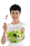 Salad. A Health Asian holding  salad Royalty Free Stock Photography