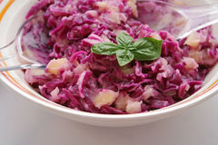 Salad. A fresh salad of red cabbage with potatoes Stock Photos