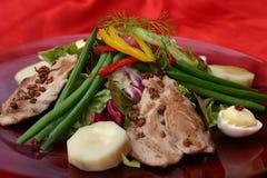Salad. Tuna salad Nicoise; fresh vegetables with grilled tuna medaillions Stock Photos