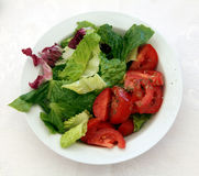 Salad. Lettuce and tomatoes on a plate Stock Image