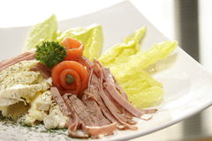 Salad. Lush healthy fresh salad on white plate with window light Royalty Free Stock Image