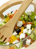 Salad. Bowl with vegetable salad and a wooden spoon Royalty Free Stock Photo