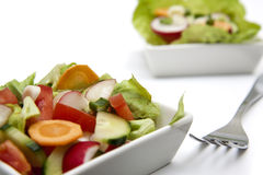 Salad. Mixed spring vegetables and a fork Royalty Free Stock Image