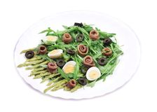 Salad with anchovies and asparagus. Royalty Free Stock Photos