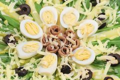 Salad with anchovies and asparagus. Stock Photo
