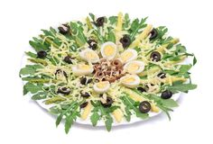 Salad with anchovies and asparagus. Royalty Free Stock Images