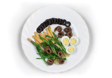 Salad with anchovies and asparagus Royalty Free Stock Images