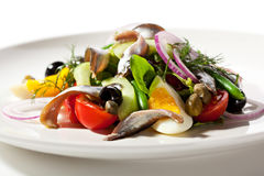 Salad with Anchovy. And Vegetables Royalty Free Stock Images