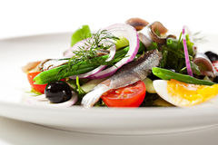 Salad with Anchovy. And Vegetables Stock Photo