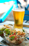 Salad And Glass Of Beer Royalty Free Stock Image
