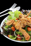 Salad or apetizer with shrimp and herbs Royalty Free Stock Photo