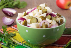 Salad with apples, pickled cucumbers and red onion Stock Image