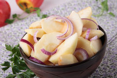 Salad with apples, red onions and oil Stock Image