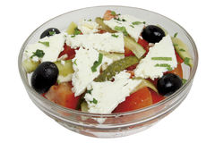Salad Arabia. Tomato,sheep cheese, onion, olives, Feta cheese, capsicum, capers, olives oil Stock Image