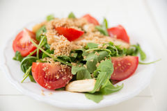 Salad with arugula, asparagus and tomato Stock Images