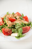 Salad with arugula, asparagus and tomato Stock Photography