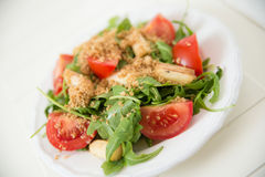 Salad with arugula, asparagus and tomato. Fresh Salad with arugula, asparagus and tomato Royalty Free Stock Photos