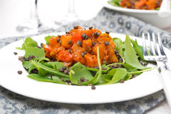 Salad with arugula, black lentils and vegetable stew Royalty Free Stock Photos