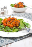 Salad with arugula, black lentils, vegetable stew in tomato sauce Royalty Free Stock Photos