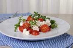 Salad arugula with cherry tomatoes and mozzarella Stock Image