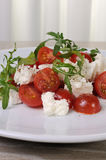 Salad arugula with cherry tomatoes and mozzarella Stock Images