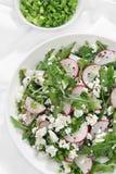 Salad with arugula, cottage cheese and radish Stock Photos