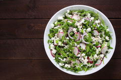 Salad with arugula and cottage cheese Royalty Free Stock Photo
