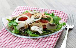 Salad with arugula and fungi Royalty Free Stock Photography