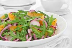 Salad with arugula, radish and tangerine Stock Photography