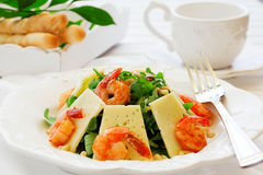 Salad with arugula, shrimp Stock Images