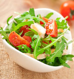 Salad of arugula. Tomato and grilled fillet of chicken stock photos
