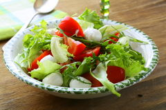 Salad with arugula, tomatoes and mozzarella Stock Photo
