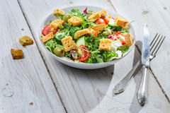 Salad with arugula and tomatoes ready to eat stock photos