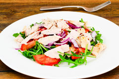 Salad with Arugula, Tomatoes, Turkey Breast, Grape Seed Oil, Soy Royalty Free Stock Images