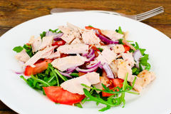 Salad with Arugula, Tomatoes, Turkey Breast, Grape Seed Oil, Soy Royalty Free Stock Photo