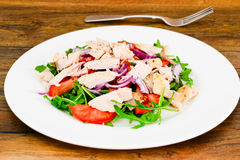 Salad with Arugula, Tomatoes, Turkey Breast, Grape Seed Oil, Soy Stock Photography