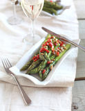Salad with asparagus, grill sweet peper and olives Stock Photo
