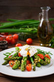 Salad of asparagus, tomatoes and egg Stock Photos