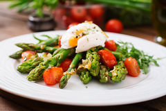 Salad of asparagus, tomatoes and  egg Royalty Free Stock Photos