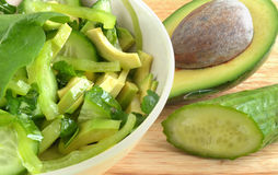 Salad of avocado and cucumber Stock Images