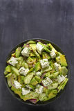 Salad with avocado, cucumber and cheese Royalty Free Stock Images