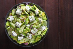 Salad with avocado, cucumber and cheese Stock Photos