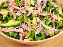 Salad with avocado and ham Royalty Free Stock Photo