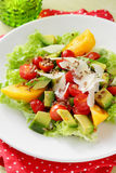 Salad with avocado on plate Royalty Free Stock Photo