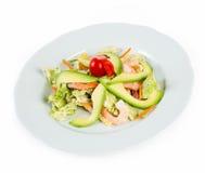Salad with avocado and prawns Stock Photos