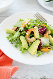 Salad with avocado and prawns Stock Images