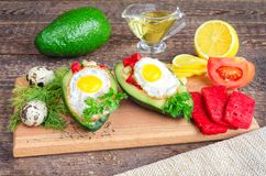 Salad with avocado and red tomato cheese Stock Images
