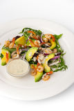 Salad with avocado and shrimp on the white background vertica Stock Photo