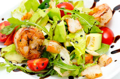 Salad with avocado and shrimps Royalty Free Stock Photography